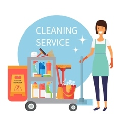 Cleaning service staff janitor with trolley full vector