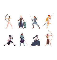 Collection female warriors from scandinavian vector