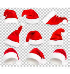 Collection of red santa hats on transparent vector