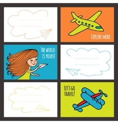 Colorful card baby girl and planes vector image