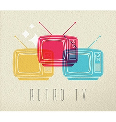 Colorful retro tv concept design background vector image