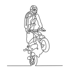 continuous one line drawing of a sportsman on a vector image
