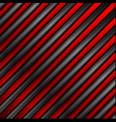 Contrast red and black glossy metallic stripes vector
