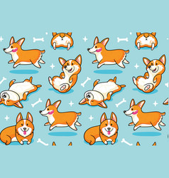 Corgi seamless pattern funny background with vector