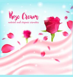 Cosmetic cream texture design with rose natural vector