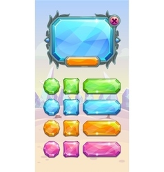 Crystal game user interface assets vector