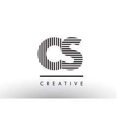 cs c s black and white lines letter logo design vector image