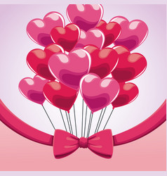 Cute bunch pink balloons heart bow vector
