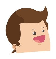 Cute face of happy man with shiny brown hair icon vector