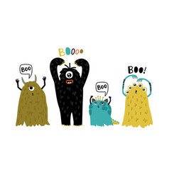 cute furry monsters vector image