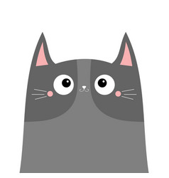 Cute gray cat kitten kitty head silhouette icon vector