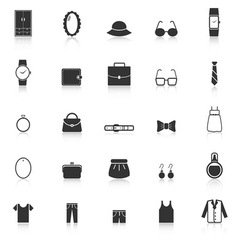 Dressing icons with reflect on white background vector
