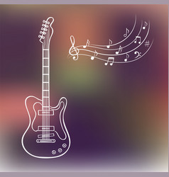 electric guitar and music notes on blurred vector image