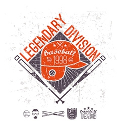 Emblem baseball legendary division of college vector