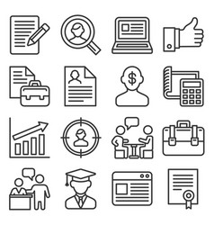 Employment and job resume icons set on white vector