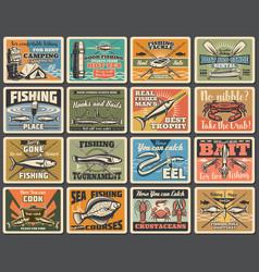 Fishing sport tackles hooks retro signs vector