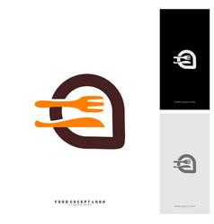 food talk logo concept designs food discuss logo vector image