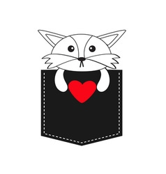 Fox in the pocket holding red heart Cute cartoon vector