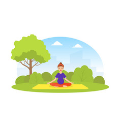 girl doing yoga in city park young woman vector image