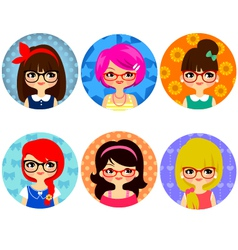 glasses girls vector image