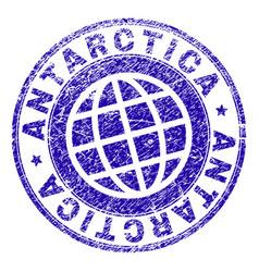 grunge textured antarctica stamp seal vector image
