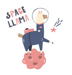 happy astronaut llama in a spacesuit and helmet vector image