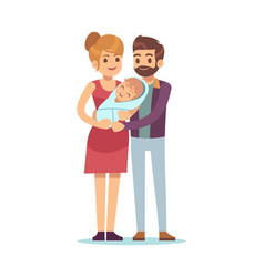 Happy parent with newborn mom and dad vector