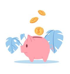 happy piggy bank with money golden coins vector image