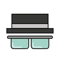 hat and glasses icon vector image