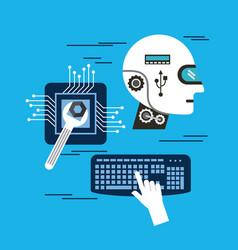 Head robot intelligence board circuit keyboard vector