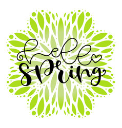Hello spring typography icon lettering for social vector