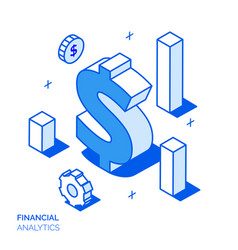 isometric financial analysis line style concept vector image