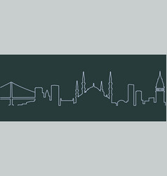 Istanbul single line skyline vector