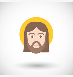 jesus christ portrait flat icon vector image