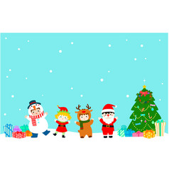 Joyful kids with christmas costumes background vector