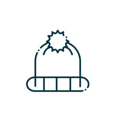 Knit hat happy christmas line icon vector