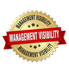 management visibility round isolated gold badge vector image