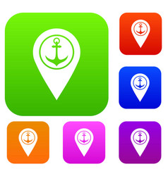 map pointer with symbol anchor and sea port set vector image