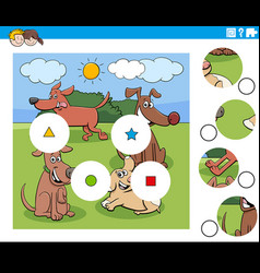 Match pieces puzzle game with cartoon dogs group vector