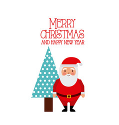 merry christmas and happy new year santa and tree vector image