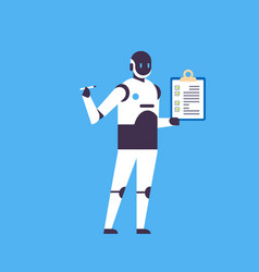 modern robot hold checklist clipboard helper bot vector image