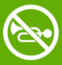no horn traffic sign icon green vector image