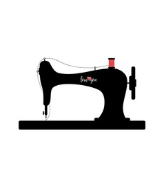 Old sewing machine silhouette with Love you text vector