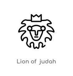 Outline lion judah icon isolated black simple vector