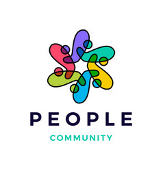 people family community overlapping color logo vector image