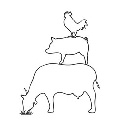 Pig cow chicken logooutline vector