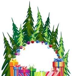 Pine forest and christmas presents vector
