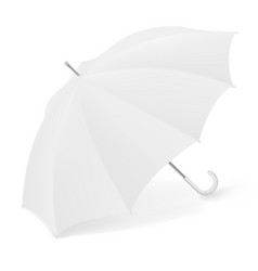 Realistic 3d white umbrella parasol for branding vector