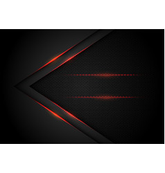 red light arrow on black with hexagon mesh vector image