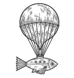 Retro banner old flying machine sketch scratch vector
